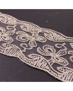 66mm Wide Dentelles Dor Gold Embroidered Lace