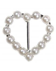 Pearl Heart Buckle, Small, Vertical Bar a side view