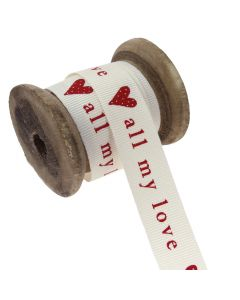 15mm All My Love (Natural/Red) Colour 2 Ribbon - Display Reel
