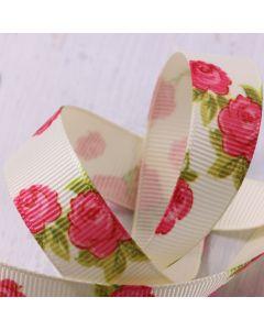 16mm Ivory Colour 810 Vintage Rose (3m roll) Ribbon - Detail
