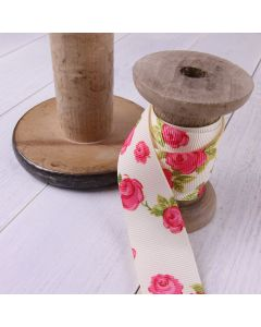 25mm Ivory Colour 810 Vintage Rose (25m roll) - Display Reel