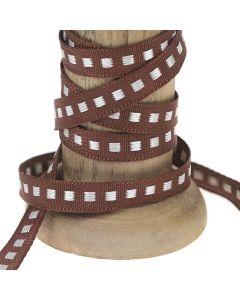 Brown 7mm Box Stitch Ribbon Colour 25 - Reel