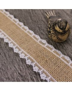 Lace Edge 38mm Hessian Ribbon - Natural (by the metre)