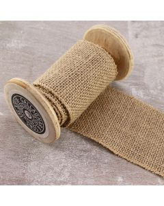 Wired 70mm Rustic Hessian Ribbon - Natural
