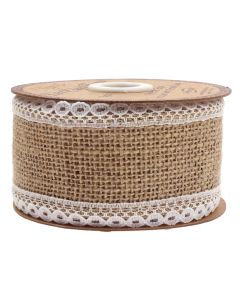 Lace Edge Hessian 50mm Natural - White