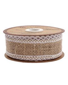 Lace Edge Hessian 36mm Natural - White