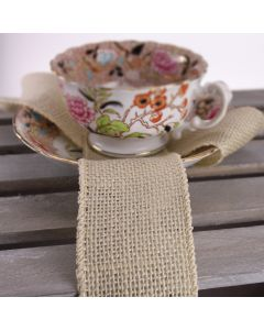 Wired 50mm Rustic Hessian Ribbon - Ivory