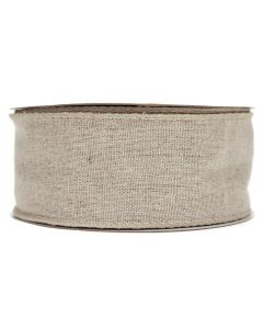 Wired Edge 50mm Natural Linen Burlap Ribbon - Roll