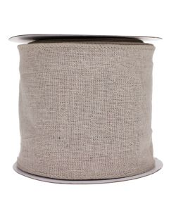 Wired Edge 100mm Natural Linen Burlap Ribbon - Roll