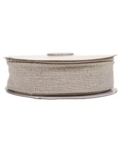 Wired Edge 32mm Natural Linen Burlap Ribbon - Roll