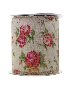 Frayed Edge 100mm - Burlap Ribbon - Vintage Rose