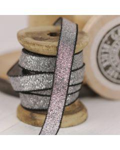 Razzle Glitter Ribbon 10mm - Black/Silver colour 12