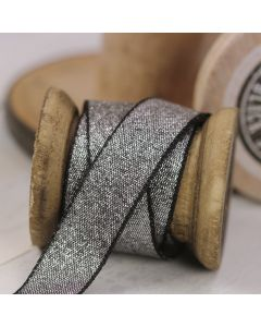 Razzle Glitter Ribbon 15mm - Black/Silver colour 12