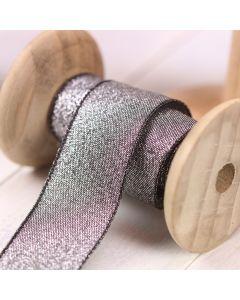 Razzle Glitter Ribbon 25mm - Black/Silver colour 12