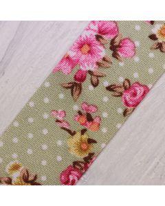 Floral Polka Dot Ribbon 25mm - Sage