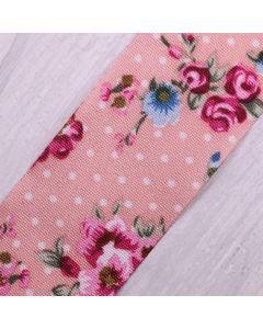 Floral Polka Dot Ribbon 25mm - Antique Pink