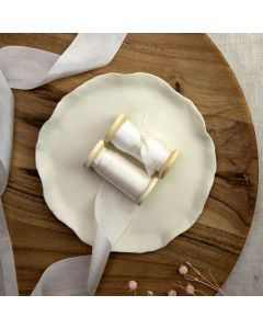 May Arts White (Colour 01) 32mm Pure Silk Ribbon x 1m