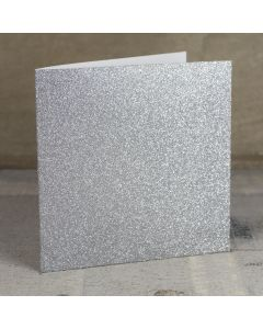 Creased Card Large Square - Silver Glitter Card