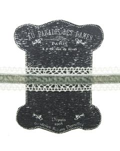 20mm Grey Ivory Lace and Velvet Trim on Display Lace Keeper