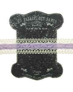 20mm Lavender Ivory Lace and Velvet Trim on Display Lace Keeper