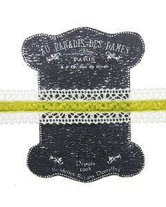 20mm Sweetpea Ivory Lace and Velvet Trim on Display Lace Keeper