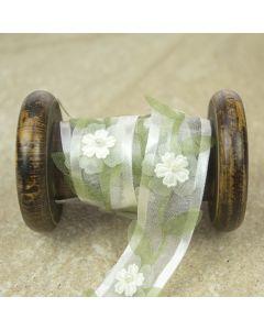Ivory/Sage Sheer Floral Pearl Ribbon Trim