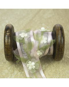 Pale Pink/Sage Sheer Floral Pearl Ribbon Trim