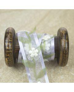 Lilac/Sage Sheer Floral Pearl Ribbon Trim