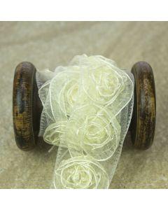 Ivory Sheer Ribbon Rose Trim