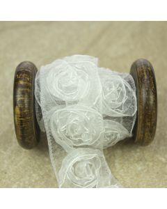 White Ribbon Rose Trim