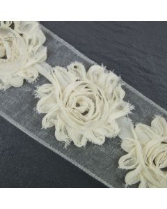 Ivory Floral Tattered Wide Trim