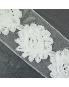 White Floral Tattered Wide Trim