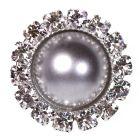Diamante Pearl Circle - Silver Embellishment