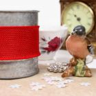 Wired 38mm Rustic Hessian Ribbon - Red
