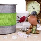 Wired 38mm Rustic Hessian Ribbon - Lime Green