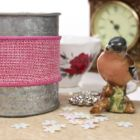 Wired 38mm Rustic Hessian Ribbon - Light Pink