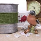 Wired 38mm Rustic Hessian Ribbon - Green