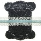 20mm Light Blue and Ivory Lace and Velvet Trim on Display Lace Keeper