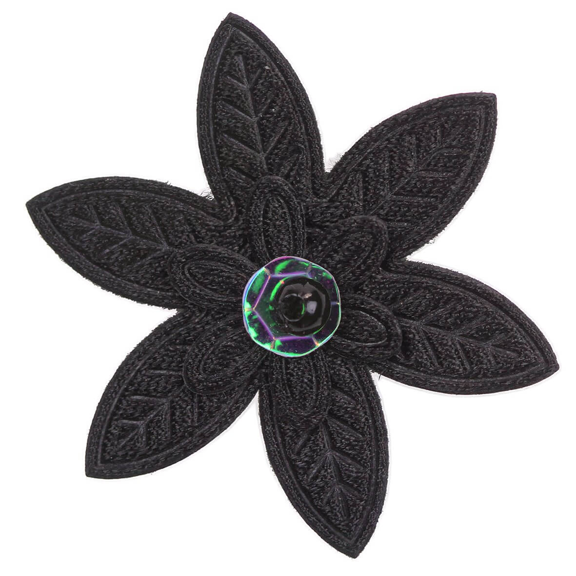 Black Embroidered Pointed Daisy Embellishment
