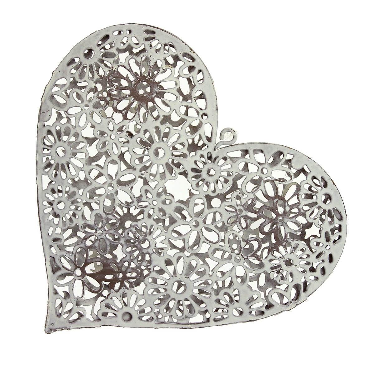 Ivory Filigree Floral Metal Heart