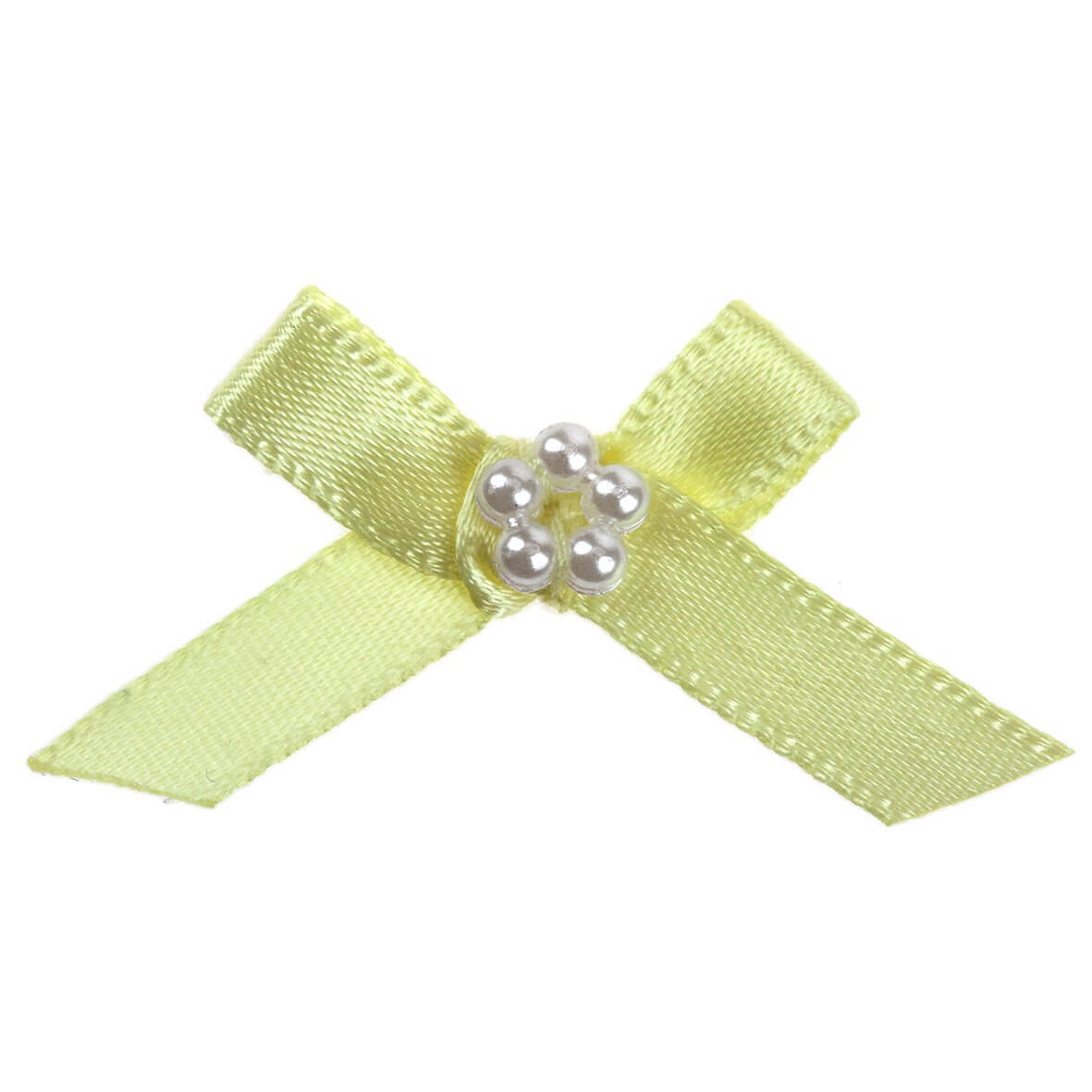 Lemon Ribbon Bow and Pearl Cluster