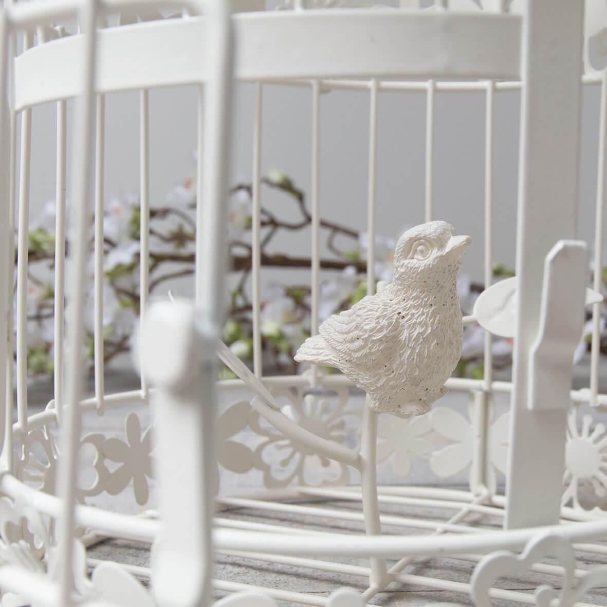 Ivory Birdcage with decorative bird inside