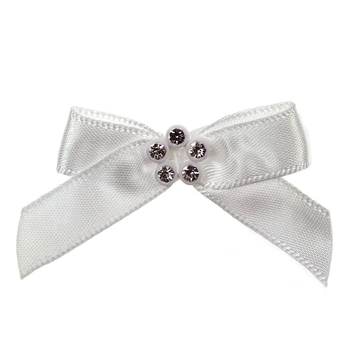 Ivory Ribbon Bow with Diamante Cluster