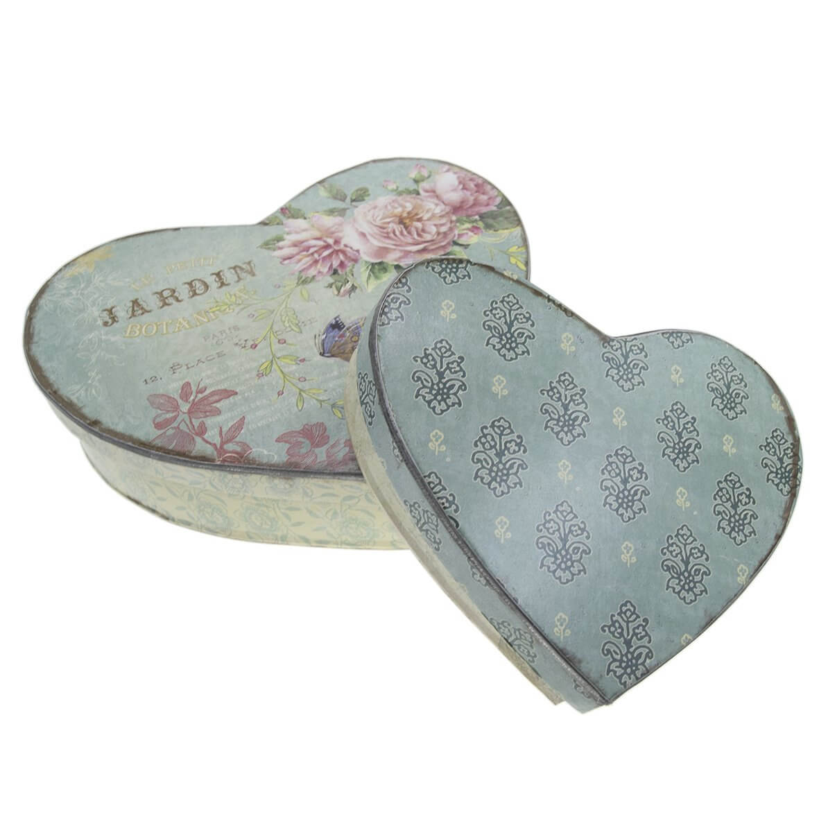 Nesting Vintage Heart Tins - Large and Small Tin