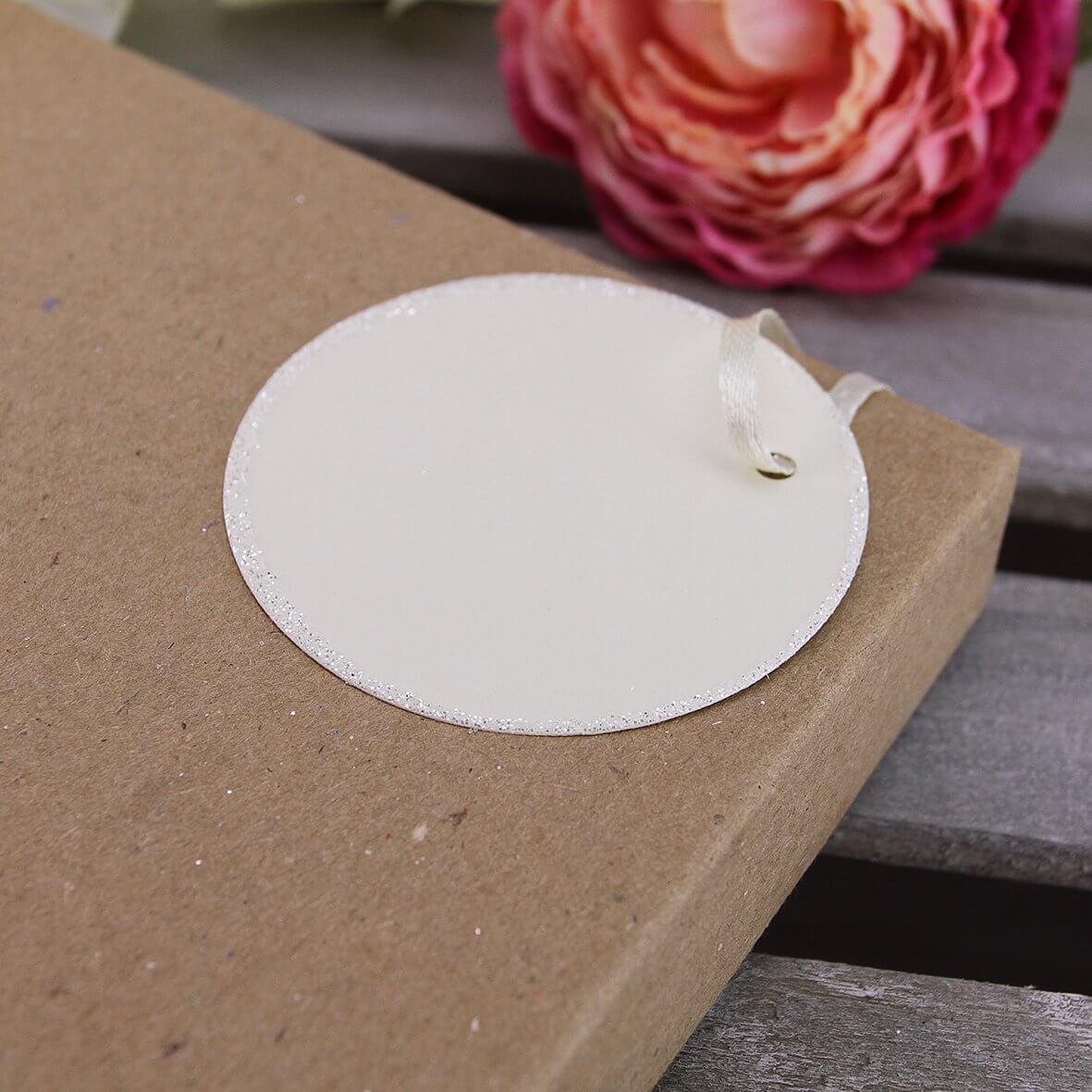 Glitter Edged Circle Tags (Ivory)