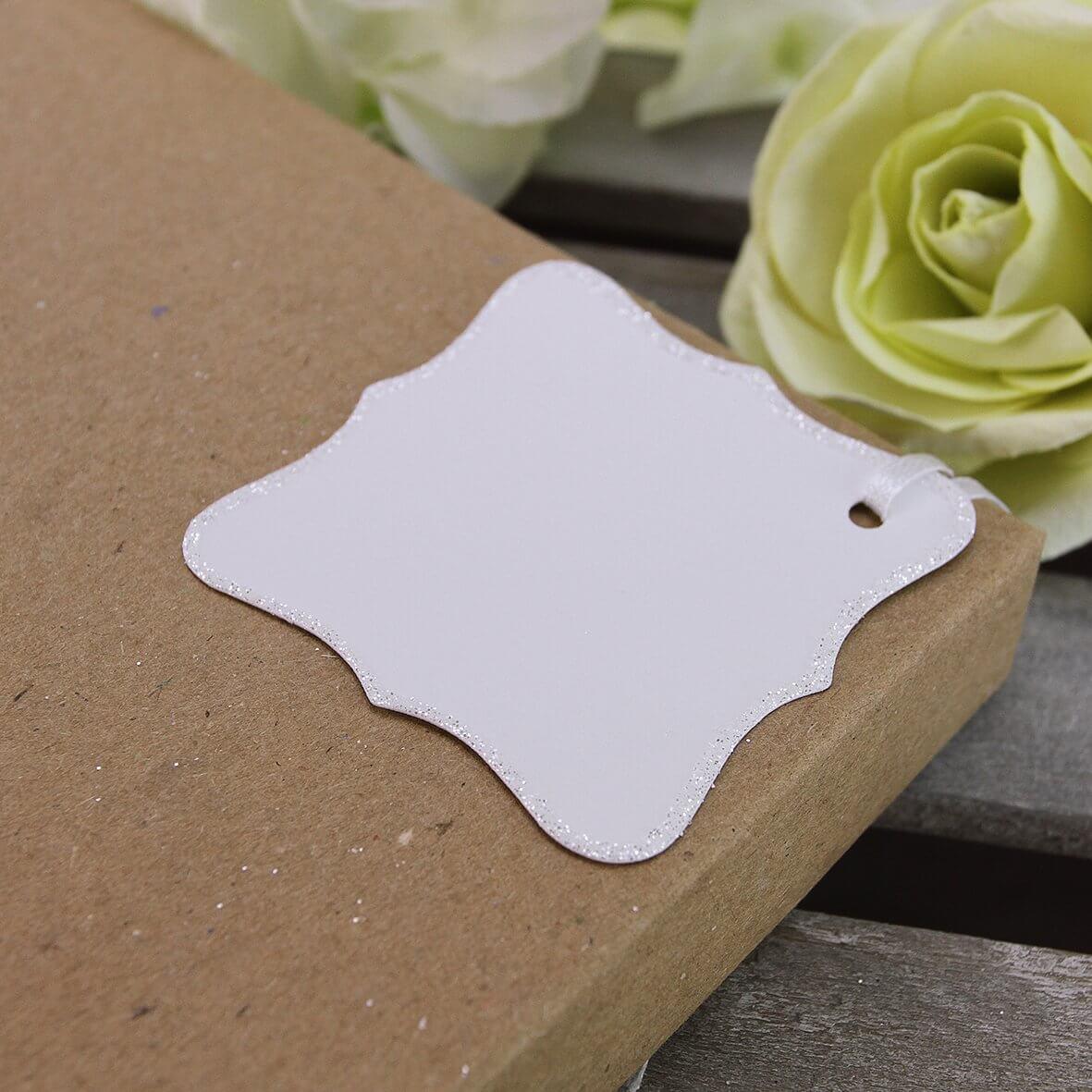 Glitter Edged Ornate Tags (White)