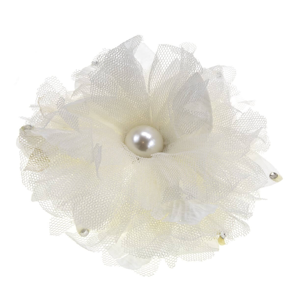 Monroe Ivory Decorative Fabric Flower Clip