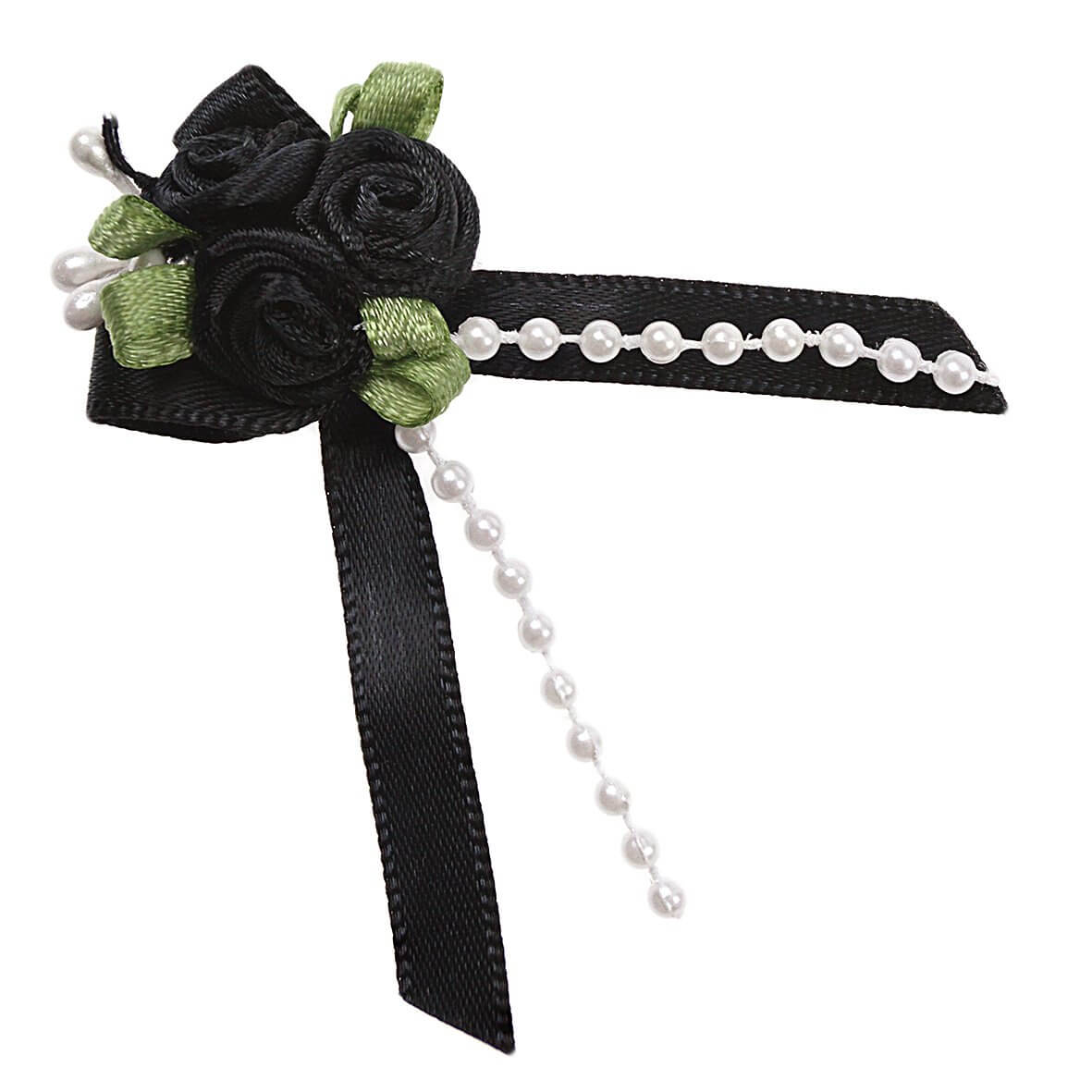Black Rose Ribbons with Bead Sprays