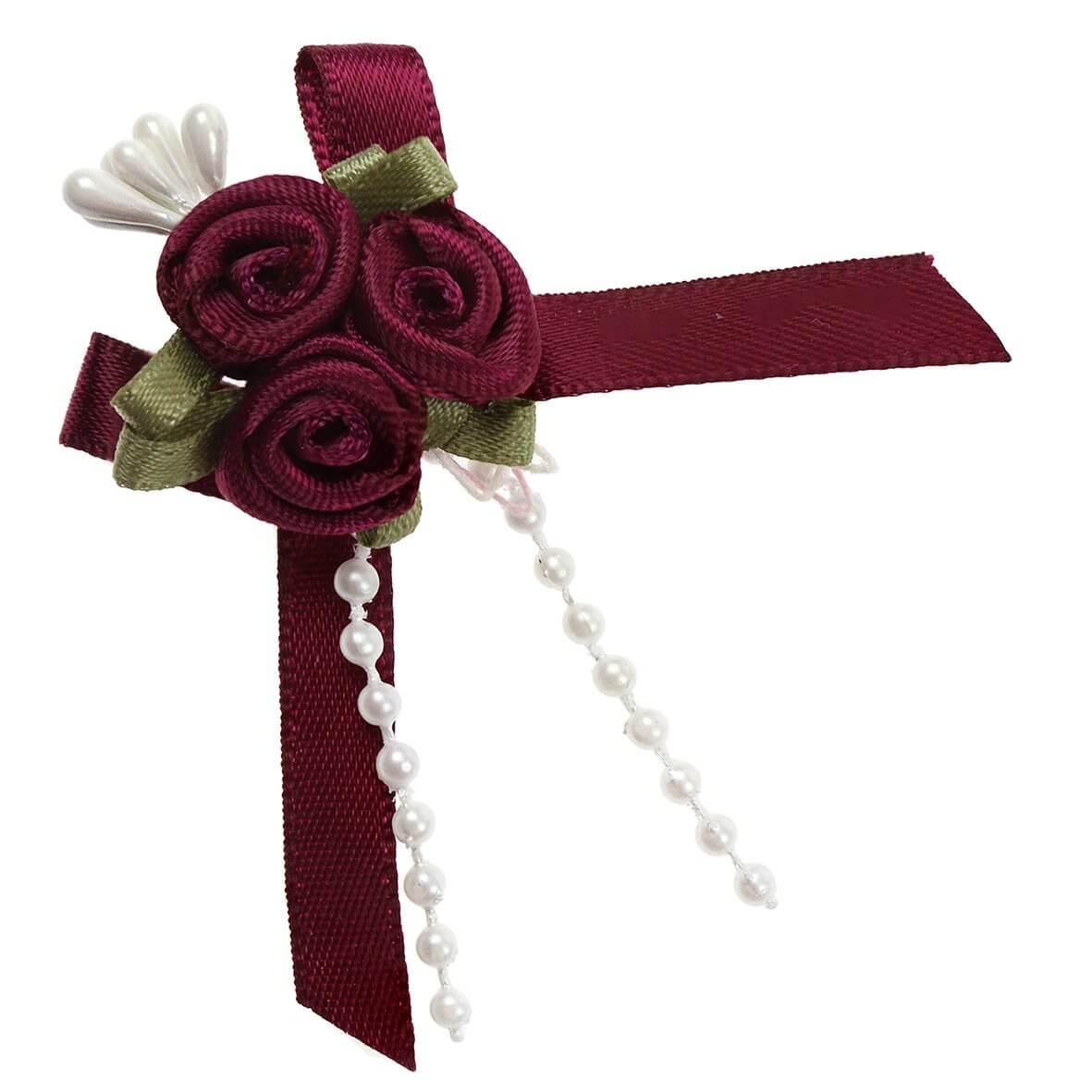Burgundy Rose Ribbons with Bead Sprays