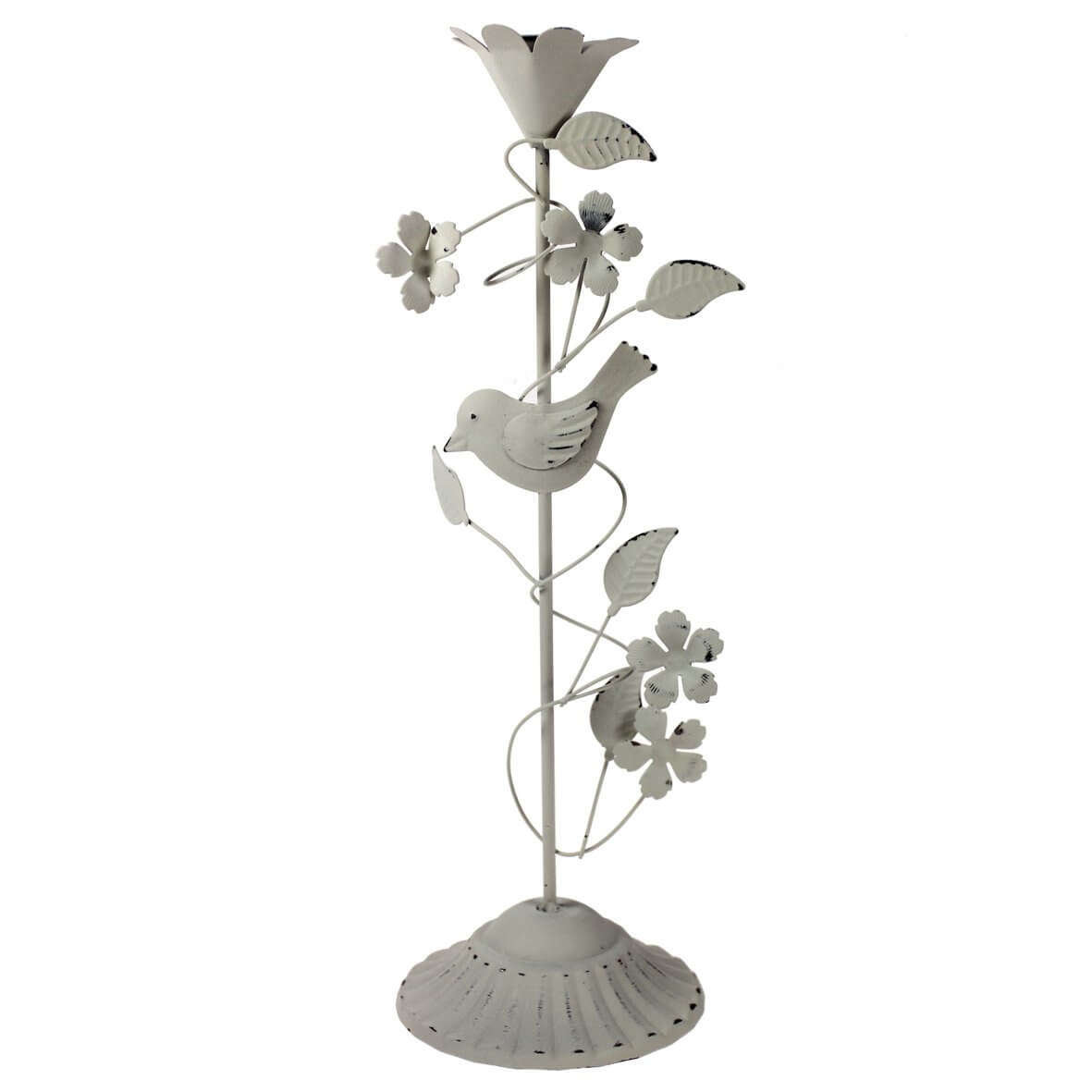 Candlestick with Flowers & Bird